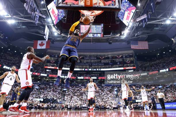 LeBron James of the Cleveland Cavaliers dunks the ball during the game against the Toronto Raptors in Game Four of the Eastern Conference Semifinals...