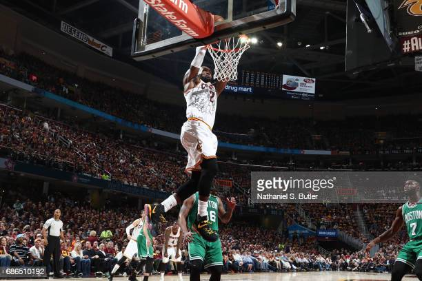 LeBron James of the Cleveland Cavaliers dunks the ball during the game against the Boston Celtics in Game Three of the Eastern Conference Finals...