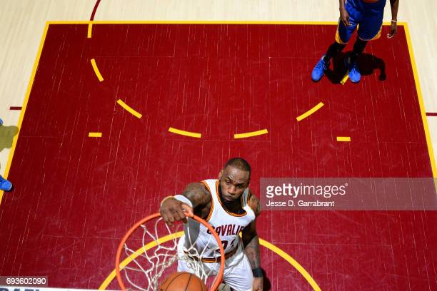 LeBron James of the Cleveland Cavaliers dunks the ball during the game against the Golden State Warriors in Game Three of the 2017 NBA Finals on June...
