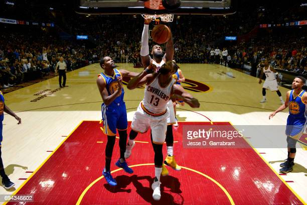 LeBron James of the Cleveland Cavaliers dunks the ball during the game against the Golden State Warriors in Game Four of the 2017 NBA Finals on June...