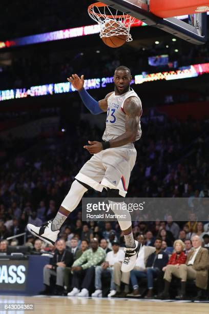 LeBron James of the Cleveland Cavaliers dunks the ball in the first half of the 2017 NBA AllStar Game at Smoothie King Center on February 19 2017 in...