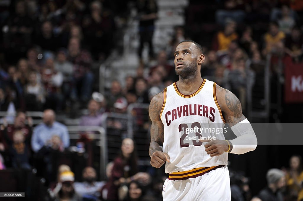 <a gi-track='captionPersonalityLinkClicked' href=/galleries/search?phrase=LeBron+James&family=editorial&specificpeople=201474 ng-click='$event.stopPropagation()'>LeBron James</a> #23 of the Cleveland Cavaliers during the game against the Sacramento Kings on February 8, 2016 at Quicken Loans Arena in Cleveland, Ohio.