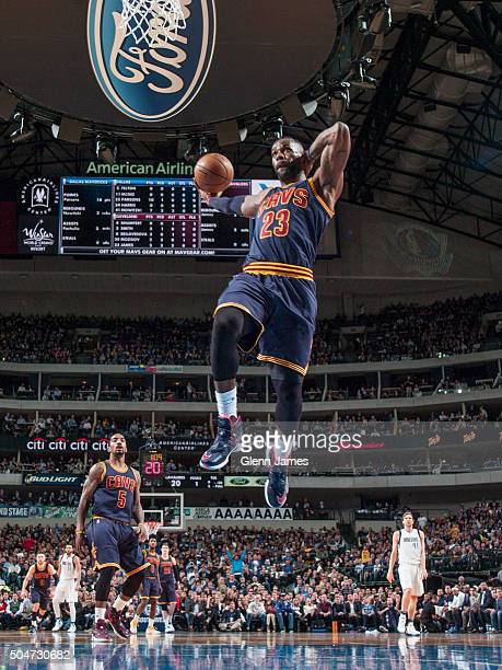 LeBron James of the Cleveland Cavaliers flies in for the dunk against the Dallas Mavericks on January 12 2016 at the American Airlines Center in...