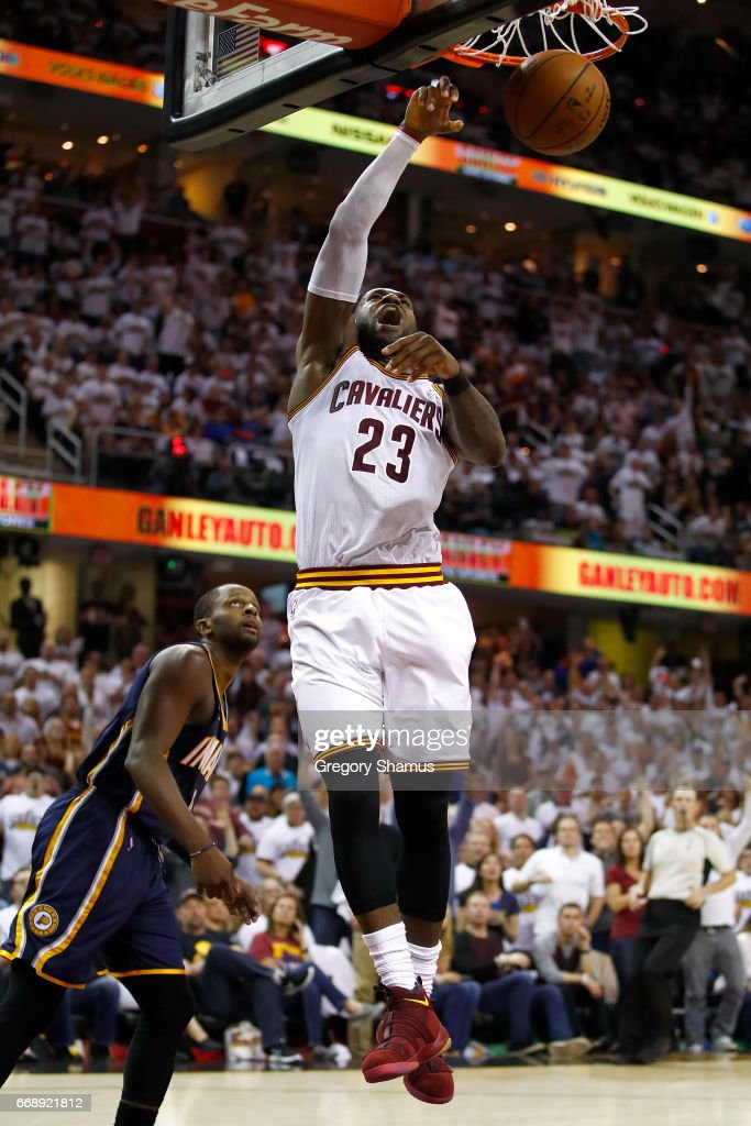 LeBron James #23 of the Cleveland Cavaliers gets in for a dunk next to CJ Miles #0 of the Indiana Pacers during the second half in Game One of the Eastern Conference Quarterfinals during the 2017 NBA Playoffs at Quicken Loans Arena on April 15, 2017 in Cleveland, Ohio. Cleveland won the game 109-108 to take a 1-0 series lead.