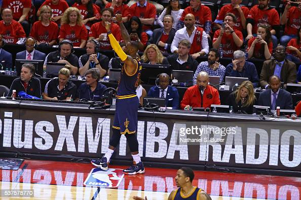 LeBron James of the Cleveland Cavaliers gets the crowd in Game Six of the NBA Eastern Conference Finals against the Toronto Raptors at Air Canada...