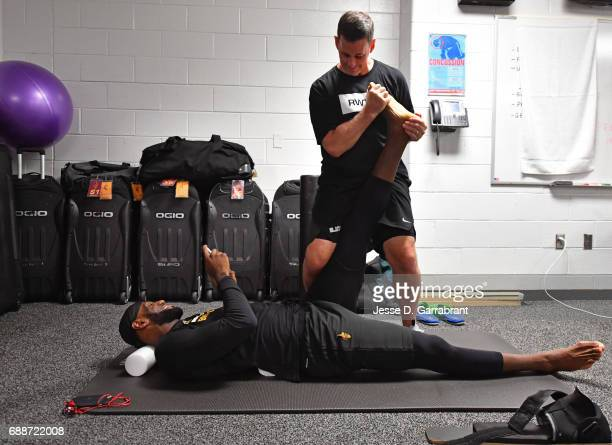 LeBron James of the Cleveland Cavaliers gets treatment in the lockeroom before Game Five of the Eastern Conference Finals against the Boston Celtics...