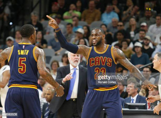 LeBron James of the Cleveland Cavaliers gives instruction to JR Smith of the Cleveland Cavaliers during game against the San Antonio Spurs at ATT...