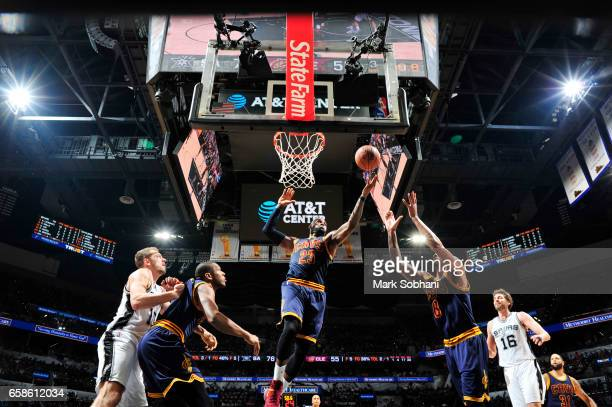 LeBron James of the Cleveland Cavaliers goes for a lay up against the San Antonio Spurs during the game on March 27 2017 at the ATT Center in San...