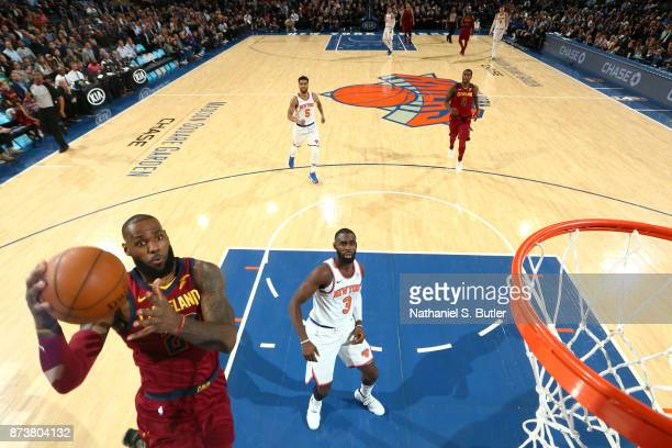 LeBron James of the Cleveland Cavaliers goes for a lay up against the New York Knicks on November 13 2017 at Madison Square Garden in New York City...