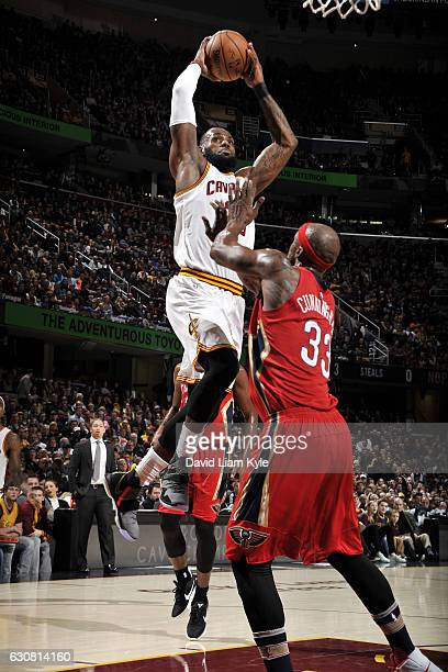 LeBron James of the Cleveland Cavaliers goes for the dunk during the game against the New Orleans Pelicans on January 2 2017 at Quicken Loans Arena...