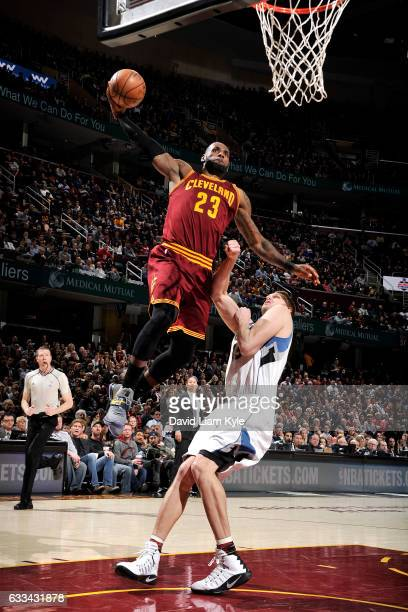 LeBron James of the Cleveland Cavaliers goes for the dunk during the game against the Minnesota Timberwolves on February 1 2017 at Quicken Loans...