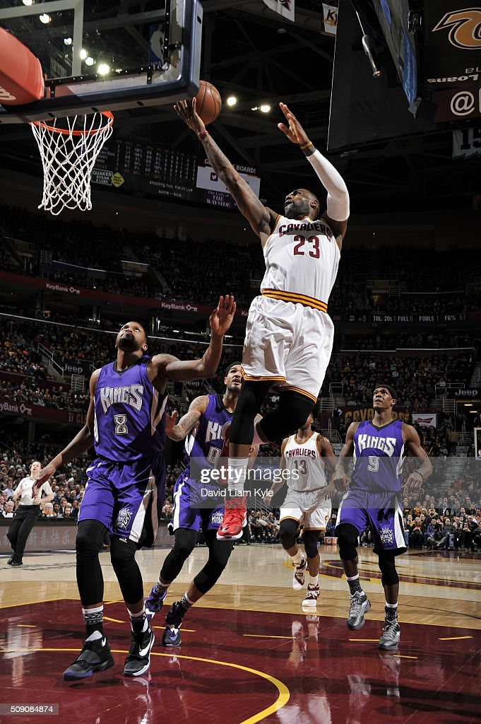 <a gi-track='captionPersonalityLinkClicked' href=/galleries/search?phrase=LeBron+James&family=editorial&specificpeople=201474 ng-click='$event.stopPropagation()'>LeBron James</a> #23 of the Cleveland Cavaliers goes to the basket against the Sacramento Kings on February 8, 2016 at Quicken Loans Arena in Cleveland, Ohio.