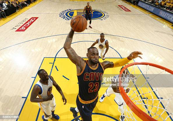 LeBron James of the Cleveland Cavaliers goes to the basket against the Golden State Warriors in Game Two of the 2016 NBA Finals on June 5 2016 at...