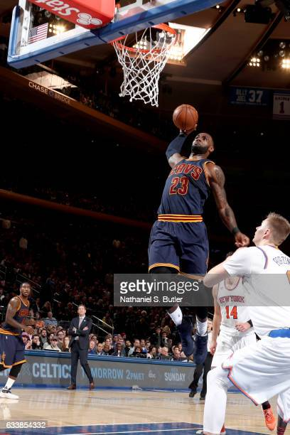 LeBron James of the Cleveland Cavaliers goes to the basket against the New York Knicks on February 4 2017 at Madison Square Garden in New York City...
