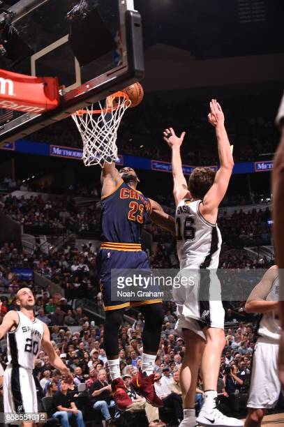 LeBron James of the Cleveland Cavaliers goes to the basket against the San Antonio Spurs on March 27 2017 at the ATT Center in San Antonio Texas NOTE...
