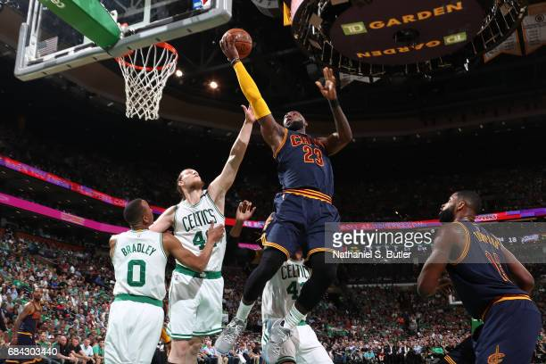 LeBron James of the Cleveland Cavaliers goes to the basket against the Boston Celtics in Game One of the Eastern Conference Finals during the 2017...