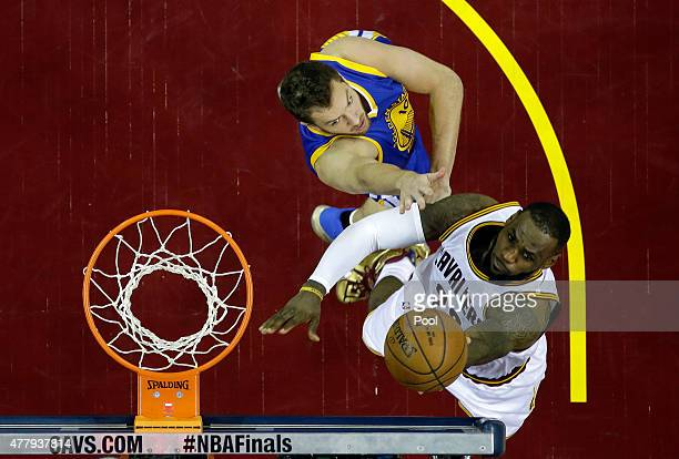 LeBron James of the Cleveland Cavaliers goes up against David Lee of the Golden State Warriors during Game Six of the 2015 NBA Finals at Quicken...