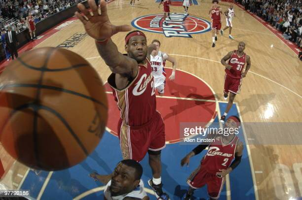 LeBron James of the Cleveland Cavaliers goes up for a block against Will Bynum of the Detroit Pistons in a game at the Palace of Auburn Hills on...