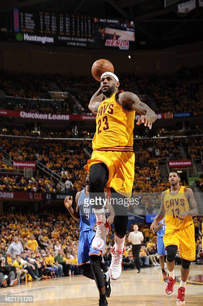 LeBron James of the Cleveland Cavaliers goes up for a dunk against the Oklahoma City Thunder during the game on January 25 2015 at Quicken Loans...