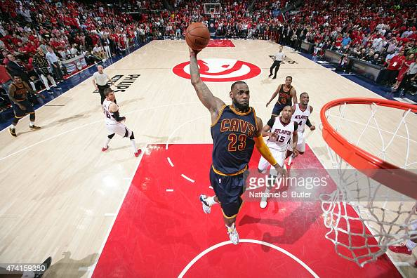 LeBron James of the Cleveland Cavaliers goes up for a dunk against the Atlanta Hawks in Game One of the Eastern Conference Finals during the 2015 NBA...
