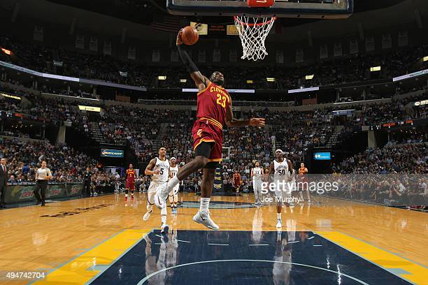 LeBron James of the Cleveland Cavaliers goes up for a dunk against the Memphis Grizzlies on October 28 2015 at FedExForum in Memphis Tennessee NOTE...