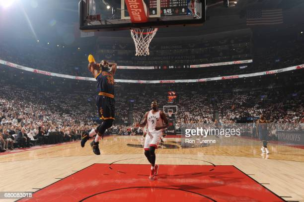 LeBron James of the Cleveland Cavaliers goes up for a dunk against the Toronto Raptors during Game Four of the Eastern Conference Semifinals of the...
