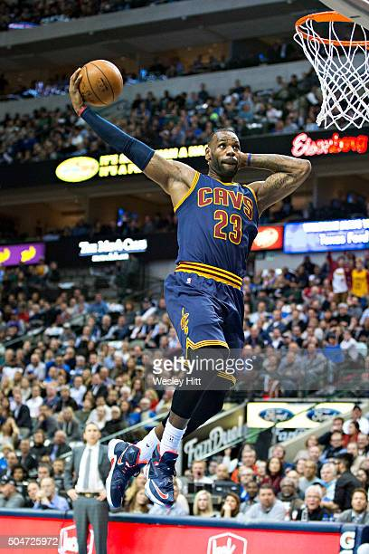 LeBron James of the Cleveland Cavaliers goes up for a dunk during a game against the Dallas Mavericks at American AirlinesCenter on January 12 2016...
