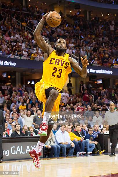 LeBron James of the Cleveland Cavaliers goes up for a dunk in the first half against the Chicago Bulls during Game Five in the Eastern Conference...