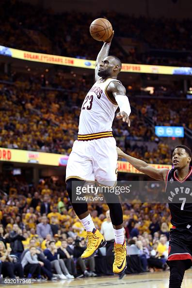 LeBron James of the Cleveland Cavaliers goes up for a dunk in the third quarter against the Toronto Raptors in game one of the Eastern Conference...
