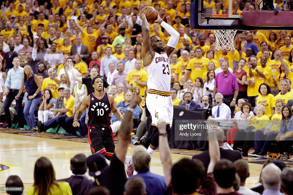 LeBron James of the Cleveland Cavaliers goes up for a dunk in the second quarter against the Toronto Raptors in game five of the Eastern Conference...