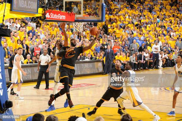 LeBron James of the Cleveland Cavaliers goes up for a lay up against the Golden State Warriors in Game Five of the 2017 NBA Finals on June 12 2017 at...