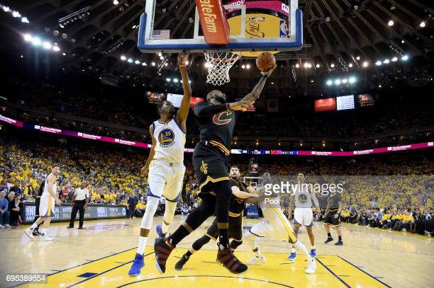 LeBron James of the Cleveland Cavaliers goes up for a shot against Kevin Durant of the Golden State Warriors in Game 5 of the 2017 NBA Finals at...
