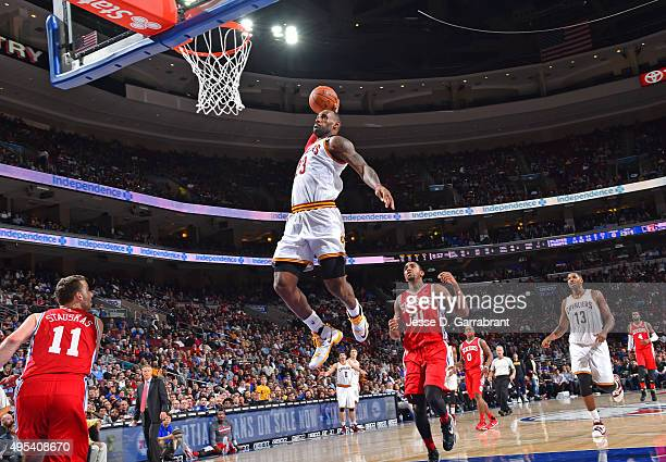 LeBron James of the Cleveland Cavaliers goes up for the dunk against the Philadelphia 76ers at Wells Fargo Center on November 2 2015 in Philadelphia...