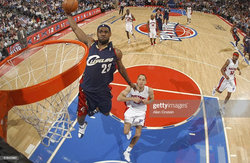 LeBron James of the Cleveland Cavaliers goes up for the dunk past Tayshaun Prince of the Detroit Pistons in game five of the Eastern Conference...