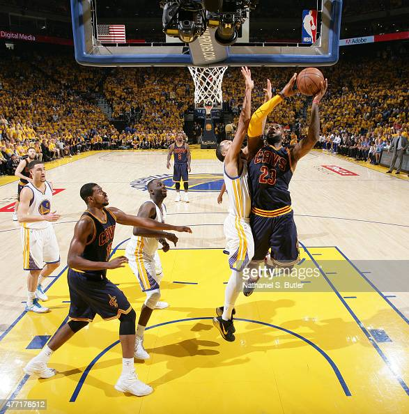 LeBron James of the Cleveland Cavaliers goes up to shoot against Shaun Livingston of the Golden State Warriors during Game Five of the 2015 NBA...