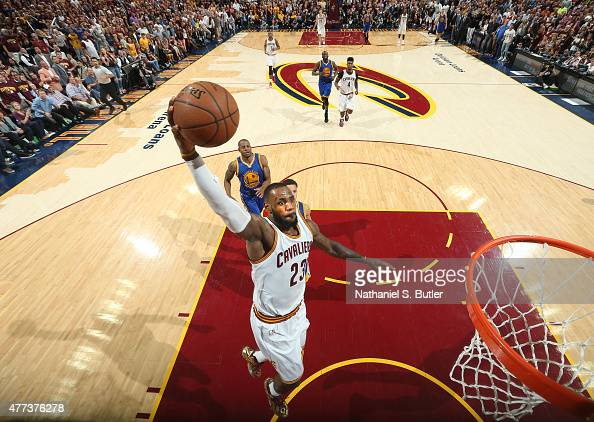 LeBron James of the Cleveland Cavaliers goes up to slam dunk during Game Six of the 2015 NBA Finals at The Quicken Loans Arena on June 16 2015 in...