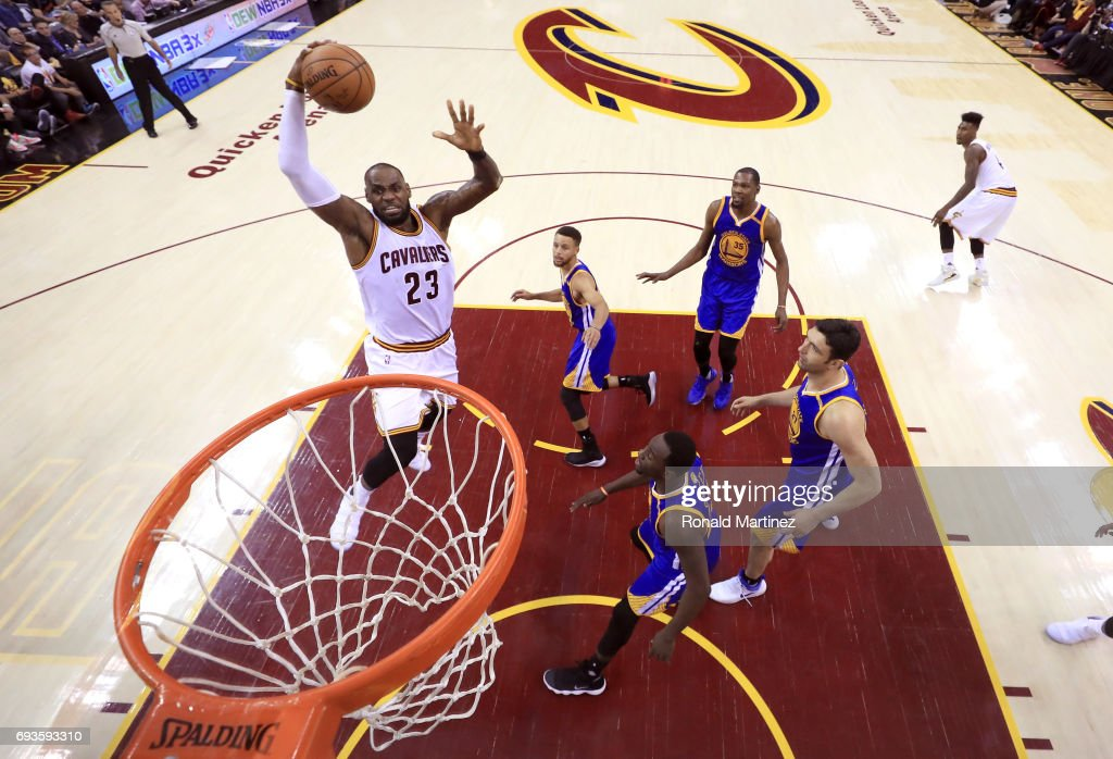 LeBron James #23 of the Cleveland Cavaliers goes up with the ball in the first half against the Golden State Warriors in Game 3 of the 2017 NBA Finals at Quicken Loans Arena on June 7, 2017 in Cleveland, Ohio.