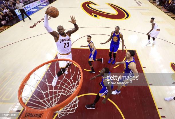 LeBron James of the Cleveland Cavaliers goes up with the ball in the first half against the Golden State Warriors in Game 3 of the 2017 NBA Finals at...
