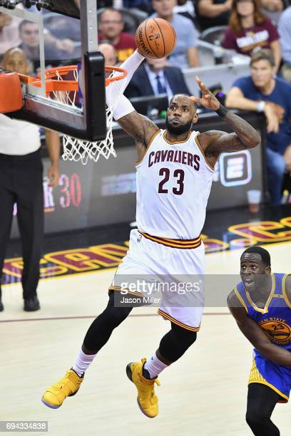 LeBron James of the Cleveland Cavaliers goes up with the ball in the second quarter against the Golden State Warriors in Game 4 of the 2017 NBA...