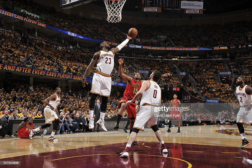 LeBron James #23 of the Cleveland Cavaliers grabs the rebound against the Atlanta Hawks in Game One of the Eastern Conference Semifinals of the 2016 NBA Playoffs on May 2, 2016 at The Quicken Loans Arena in Cleveland, Ohio.