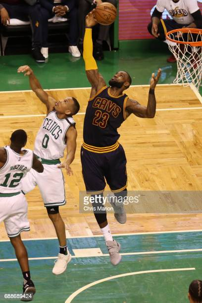 LeBron James of the Cleveland Cavaliers grabs the rebound against the Boston Celtics during Game Five of the Eastern Conference Finals of the 2017...