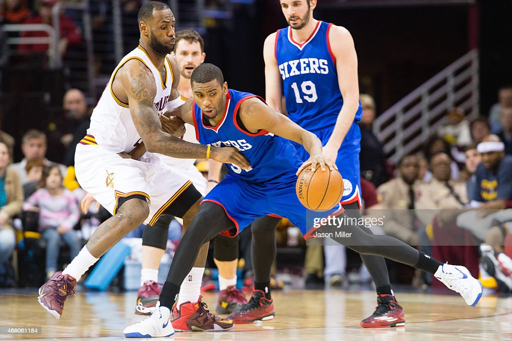 LeBron James of the Cleveland Cavaliers guards Hollis Thompson of the Philadelphia 76ers during the second half at Quicken Loans Arena on March 29...
