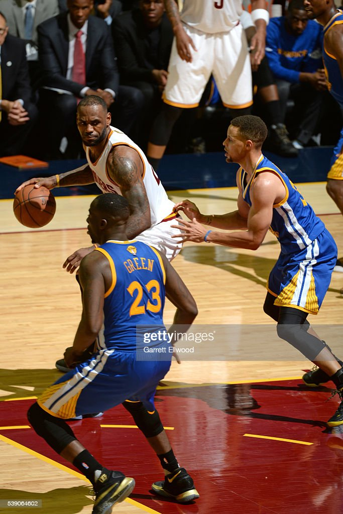 LeBron James #23 of the Cleveland Cavaliers handles the ball against Stephen Curry #30 of the Golden State Warriors during the 2016 NBA Finals Game Three on June 8, 2016 at Quicken Loans Arena in Cleveland, Ohio.