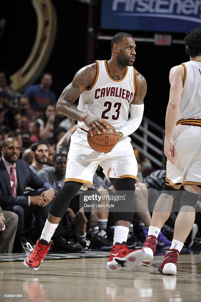 <a gi-track='captionPersonalityLinkClicked' href=/galleries/search?phrase=LeBron+James&family=editorial&specificpeople=201474 ng-click='$event.stopPropagation()'>LeBron James</a> #23 of the Cleveland Cavaliers handles the ball against the Sacramento Kings on February 8, 2016 at Quicken Loans Arena in Cleveland, Ohio.