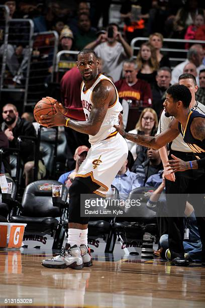 LeBron James of the Cleveland Cavaliers handles the ball against the Indiana Pacers on February 29 2016 at Quicken Loans Arena in Cleveland Ohio NOTE...
