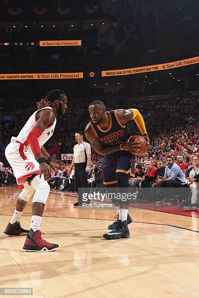 LeBron James of the Cleveland Cavaliers handles the ball against the Toronto Raptors in Game Three of the Eastern Conference Finals of the 2016 NBA...