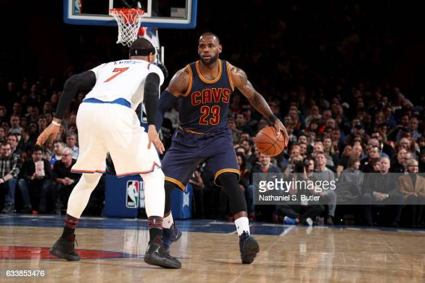 LeBron James of the Cleveland Cavaliers handles the ball against the New York Knicks on February 4 2017 at Madison Square Garden in New York City New...
