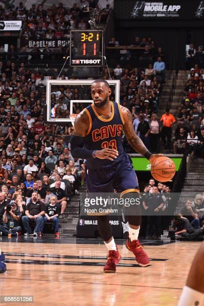 LeBron James of the Cleveland Cavaliers handles the ball against the San Antonio Spurs on March 27 2017 at the ATT Center in San Antonio Texas NOTE...