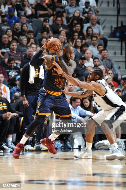LeBron James of the Cleveland Cavaliers handles the ball against the San Antonio Spurs during the game on March 27 2017 at the ATT Center in San...