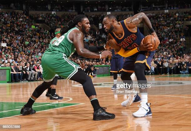 LeBron James of the Cleveland Cavaliers handles the ball against the Boston Celtics during the game on April 5 2017 at the TD Garden in Boston...